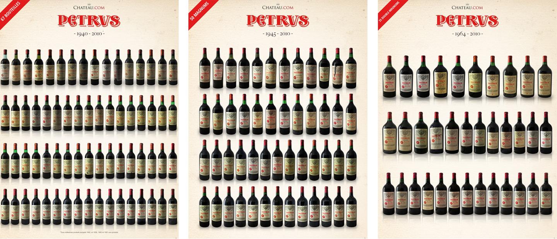 Pyramide de Petrus 1940-2010 - Bouteilles, magnums, doubles-magnums